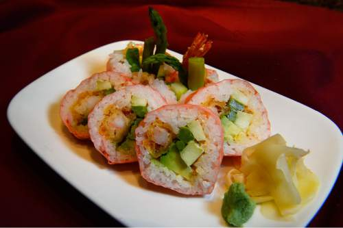 Scott Sommerdorf   |  The Salt Lake Tribune  The Pink Power Roll at Kyoto includes tempura fried shrimp, cucumber, asparagus, avocado and spicy mayo wrapped in rice and pale pink tofu paper.