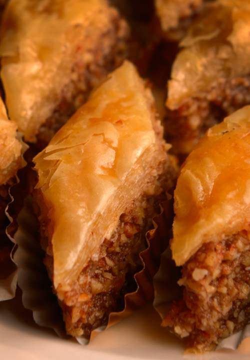 Leah Hogsten  |  The Salt Lake Tribune Baklava. Wine educator Sheral Schowe talks about about French wines and suggests a variety of bottles that go with a Thanksgiving meal,Tuesday, November 10, 2015.