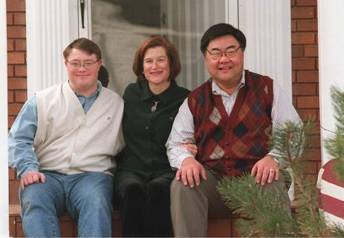Al Hartmann  |  Tribune File Photo  Randy Horiuchi with his wife Fran and step-son Andrew at their east SLC home.