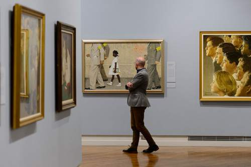 """Trent Nelson     The Salt Lake Tribune Norman Rockwell's """"The Problem We All Live With"""", on display at the BYU Museum of Art in Provo, as part of the show """"American Chronicles: The Art of Norman Rockwell,"""" a major touring exhibit featuring 50 original Rockwell paintings, as well as all 323 of his Saturday Evening Post covers. Thursday November 19, 2015."""