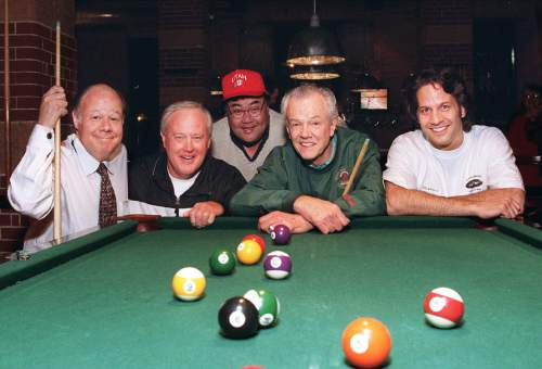 Tribune File Photo  Craig Wirth, Ron Mc Bride, Randy Horiuchi, Hot Rod Hundley and Kurt Bestor get ready to rackem' up at the party for the Travelers Aid Shelter. 1998.
