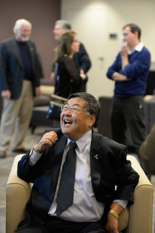 Francisco Kjolseth     Tribune File Photo  Elected office-holders and political officials gather to honor the career and retirement of Salt Lake County Councilman Randy Horiuchi at an event that included a video tribute and remarks by Utah Governor Gary Herbert plus the announcement of the Randy Horiuchi Political Fellowship at Westminster College where Horiuchi has been an adjunct professor in presidential election years. Dec. 2014.