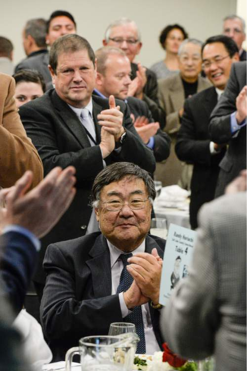 Francisco Kjolseth     Tribune File Photo Elected office-holders and political officials gather to honor the career and retirement of Salt Lake County Councilman Randy Horiuchi at an event that included a video tribute and remarks by Utah Governor Gary Herbert plus the announcement of the Randy Horiuchi Political Fellowship at Westminster College where Horiuchi has been an adjunct professor in presidential election years.