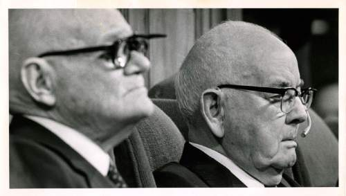 Tribune file photo  Spencer W. Kimball, right, president of The Church of Jesus Christ of Latter-day Saints, presides over a session of General Conference in October 1978.