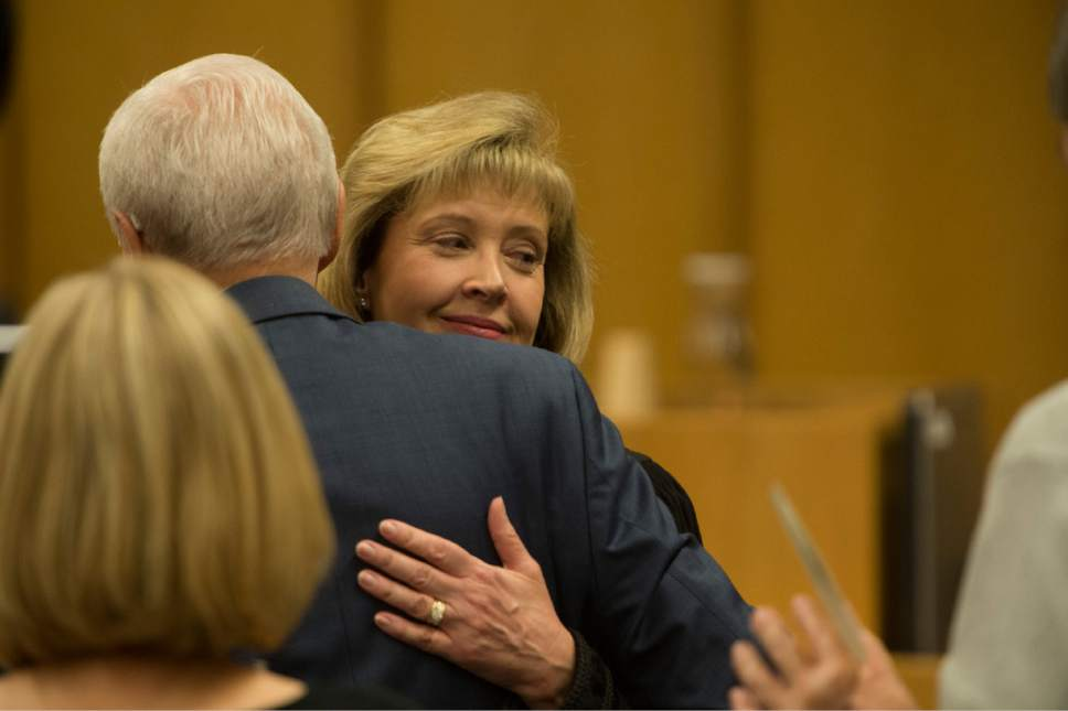 Rick Egan  |  The Salt Lake Tribune  Jill N. Parrish, hugs Orrin Hatch, during her investiture as a new federal judge, at the Federal Court Room, Monday, November 23, 2015.