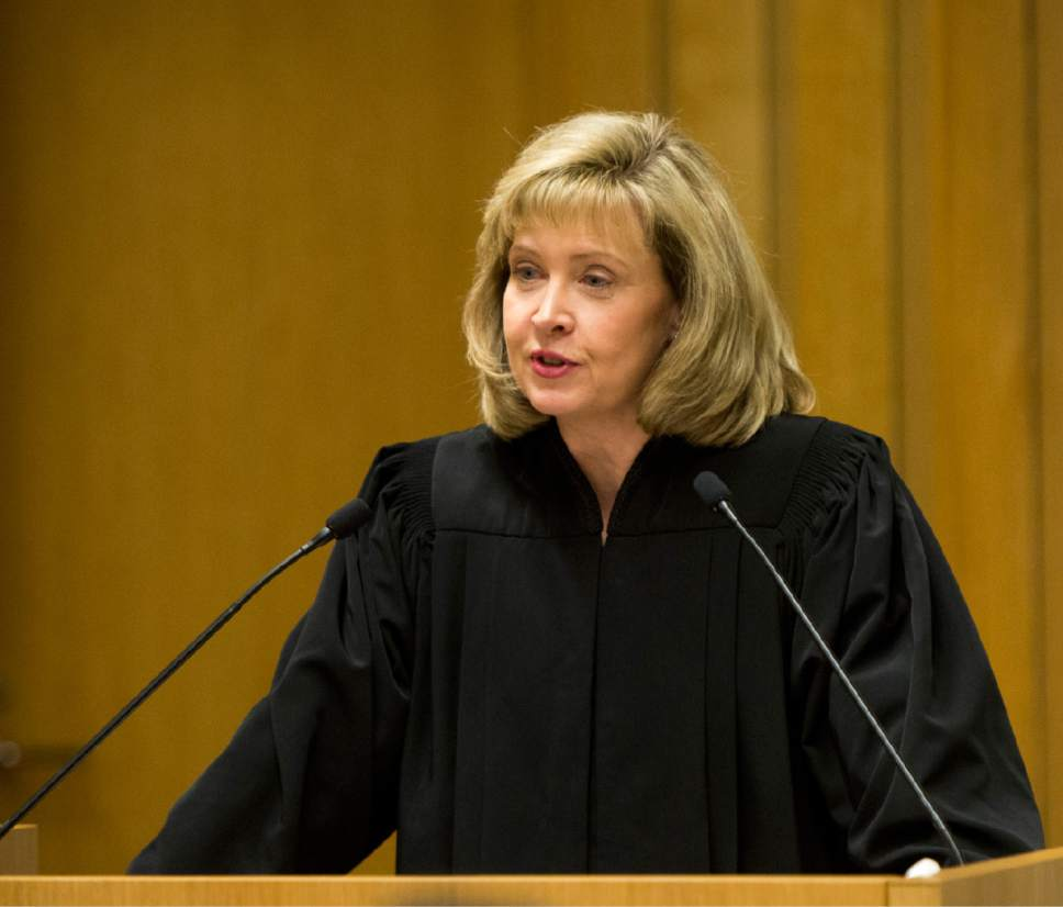 Rick Egan  |  The Salt Lake Tribune  Jill N. Parrish, speaks during her investiture as a new federal judge, at the Federal Court Room, Monday, November 23, 2015.