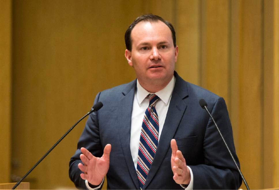 Rick Egan  |  The Salt Lake Tribune  Senator Mike Lee says a few words at the investiture of new federal judge Jill Parrish, at the Federal Court Room, Monday, November 23, 2015.