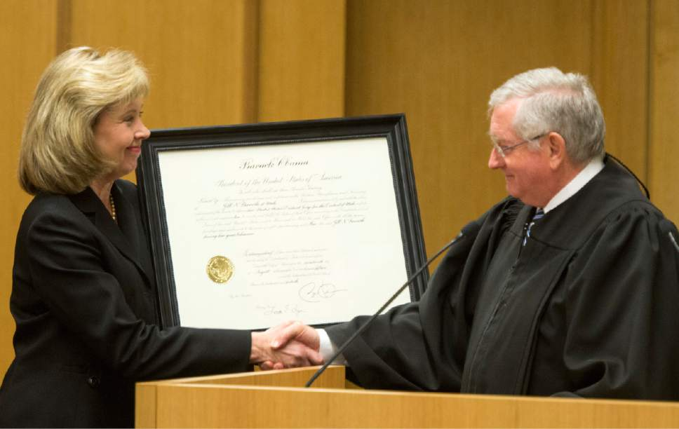 Rick Egan  |  The Salt Lake Tribune  Jill N. Parrish shakes hands with Honorable Clark Waddoups, during her investiture as a new federal judge, at the Federal Court Room, Monday, November 23, 2015.