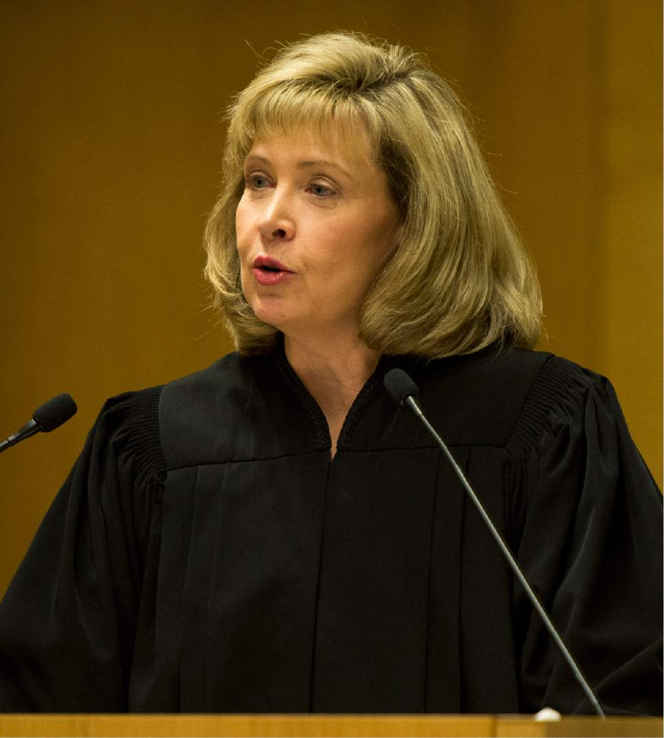 Rick Egan  |  The Salt Lake Tribune  Jill N. Parrish, says a few words during her investiture as a new federal judge, at the Federal Court Room, Monday, November 23, 2015.
