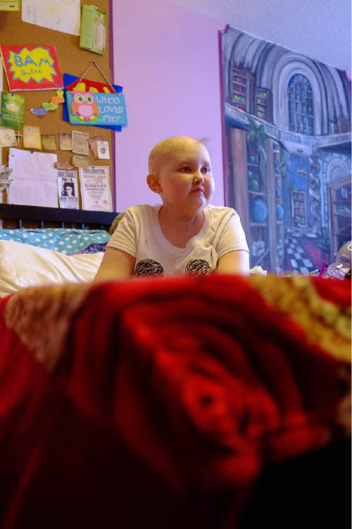 Trent Nelson  |  The Salt Lake Tribune BayLee Parks sits in her Midvale bedroom Nov. 17, 2015. Parks, 17, is getting her affairs in order. She was diagnosed at age 10 with Medulloblastoma and rather than undergo yet another round of chemotherapy, she's decided to stop treatment.