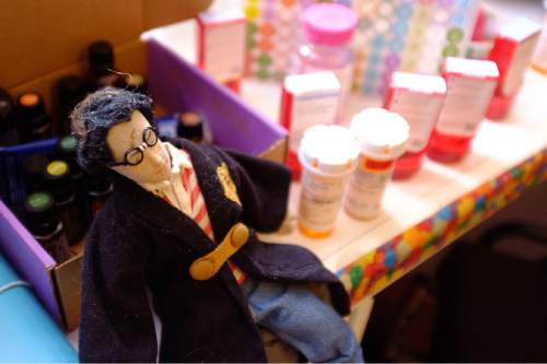 Trent Nelson  |  The Salt Lake Tribune A Harry Potter doll sits next to prescription bottles in BayLee Parks' Midvale bedroom Nov. 17. Parks, 17, is getting her affairs in order. She was diagnosed at age 10 with Medulloblastoma and rather than undergo yet another round of chemotherapy, she's decided to stop treatment.