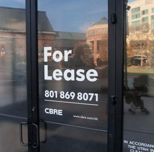 Al Hartmann  |  The Salt Lake Tribune One of many for lease signs on vacant storefront Monday Nov. 23 at the Gateway in Salt Lake City.