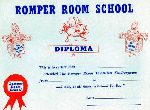 Courtesy photo | A Romper Room certificate was given to each child who appeared on the children's television show.Edna  Anderson-Taylor played Miss Julie on the local version of Romper Room in the 1960s and 1970s.