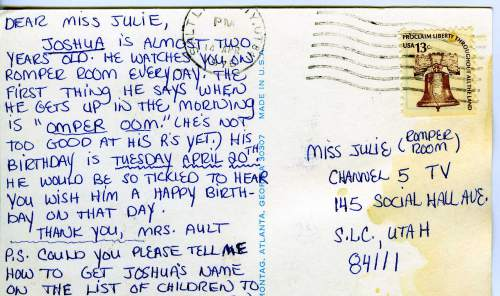 Courtesy photo | A postcard written to Edna Anderson-Taylor, also known as Miss Julie, the host of Romper Room. Children who wanted to be on the show sometimes waited years, some even from before birth to be a student on Romper Room. When Anderson-Taylor left the show in 1981, the waiting list was three years long.