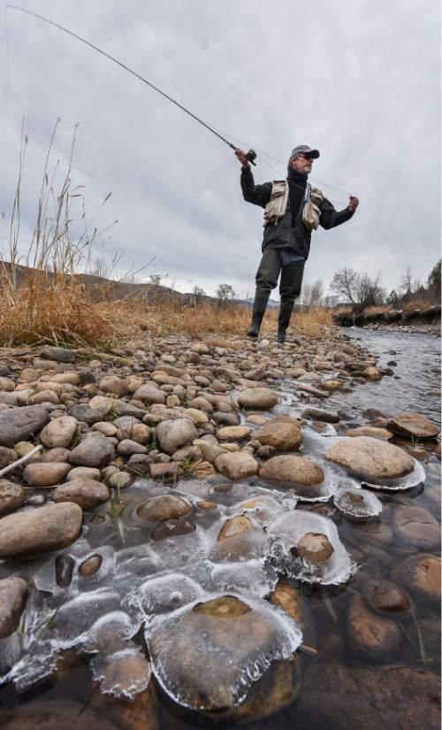 Francisco Kjolseth | The Salt Lake Tribune Brady Willison on Tuesday fishes on a braided channel on a stretch of the Upper Provo that cuts through the 7,000-acre Victory Ranch, a luxury destination near Francis. Until a Nov. 4 court ruling invalidating Utahís restrictive stream access law, such streams were not available to anglers without property ownersí permission. Stream access advocates successfully sued Victory Ranch, claiming that the landownersí practice of keeping non-guests off the river violates an easement the public has to stream beds. But without further guidance from the court, the scope of that easement is not clear, lawyers say. Victory Ranch insists the ruling should be stayed pending its appeal, which it expects to win.