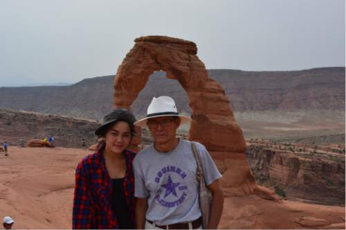 |  Courtesy Alan Gardner  Aster Paw and Pah De Paw visited Moab and Arches National Park in August.