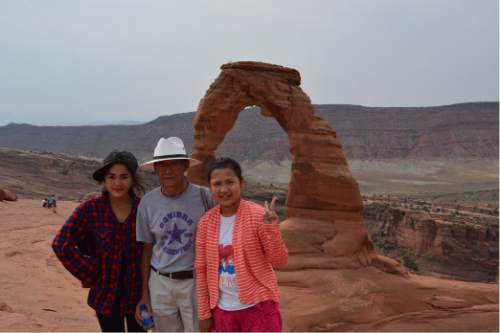|  Courtesy Alan Gardner  Aster Paw, Pah De Paw and Say Ko Lo took a trip to Moab and Arches National Park in August.