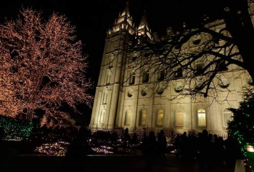 Leah Hogsten  |  The Salt Lake Tribune The Church of Jesus Christ of Latter-day Saints' Temple Square came to life shortly after dusk in multitudes of lights, downtown Salt Lake City, November 29, 2013.