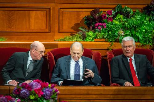 Chris Detrick  |  The Salt Lake Tribune President Henry B. Eyring, first counselor in the First Presidency, LDS Church President Thomas S. Monson and President Dieter F. Uchtdorf, second counselor in the governing LDS First Presidency,  during afternoon session of the 185th LDS General Conference at  the Conference Center in Salt Lake City Saturday October 3, 2015.