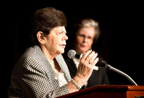 Lennie Mahler  |  The Salt Lake Tribune  Former Utah Gov. Olene Walker speaks upon receiving the Mary Schubach McCarthey Lifetime Achievement Award during the YWCA Leader Luncheon at the Grand America Hotel in Salt Lake City. Friday, Sept. 25, 2015.