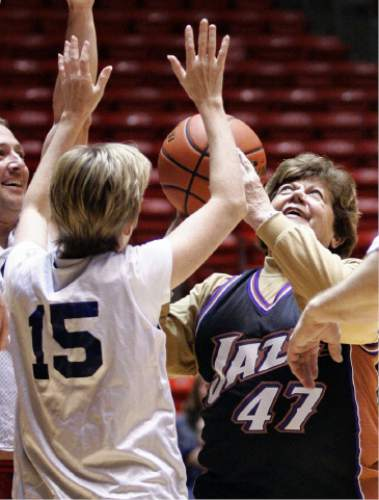 Tribune file photo Utah Governor Olene Walker has her shot blocked by State Representative Julie Fisher of District 17 during a game at the Huntsman Center in 2004.