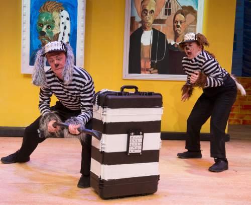 "Rick Egan  |  The Salt Lake Tribune  Jaten Lee McGriff and Jenessa Bowen, in ""Art Dog,"" Salt Lake Acting Company's new annual play for kids.  Monday, November 23, 2015."