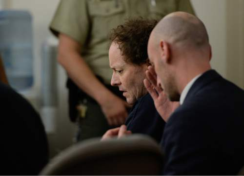 Francisco Kjolseth  |  The Salt Lake Tribune  Johnny Brickman Wall appears before Judge James Blanch at the Matheson Courthouse in Salt Lake City on Monday, April 13, 2015, for a scheduling hearing, the first hearing since his murder conviction. Wall was convicted of killing his his ex-wife, Uta von Schwedler, 49, over a bitter custody dispute.