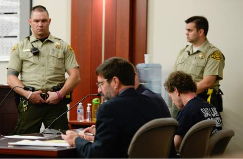 Francisco Kjolseth  |  The Salt Lake Tribune  Johnny Brickman Wall, bottom right, appears before Judge James Blanch at the Matheson Courthouse in Salt Lake City on Monday, April 13, 2015, for a scheduling hearing, the first hearing since his murder conviction. Wall was convicted of killing his his ex-wife, Uta von Schwedler, 49, over a bitter custody dispute.