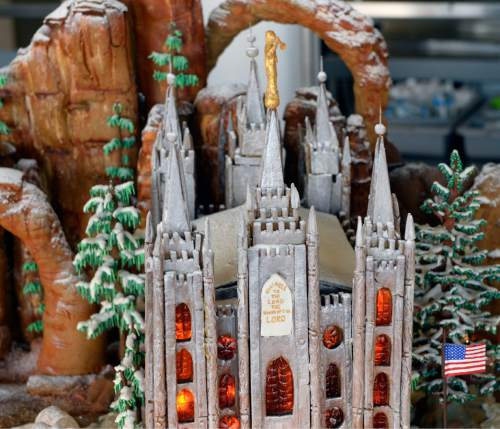 Al Hartmann  |  The Salt Lake Tribune Detail of Salt Lake Temple steeples part of a massive gingerbread display culinary students at the Women's Correctional have made to be donated to the Festival of Trees.