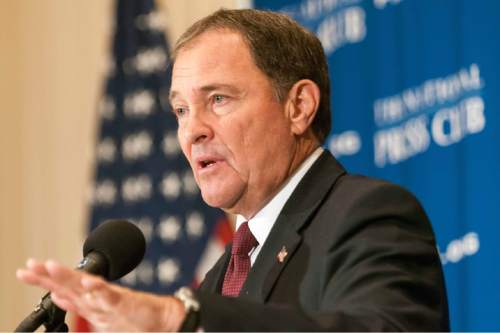 Courtesy  |  Noel St. John  Utah Governor Gary Herbert addresses a luncheon at the National Press Club, Oct. 2, 2015. Governor Herbert discussed his leadership of Utah and of the National Governors Association which he chairs.