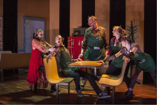 "Rick Pollock  |  Courtesy   April Fossen, Tyson Baker, Joe Crnich, Sarah Danielle Young and Anne Louise Brings in Plan-B Theatre's ""Booksmart."""