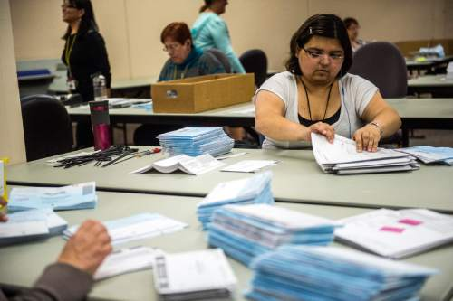 Chris Detrick  |  Tribune file photo Jan Young opens and prepares ballots for tabulation at the Salt Lake County Government Center Wednesday November 4, 2015. A new report says vote by mail has contributed to a big increase in voter participation.