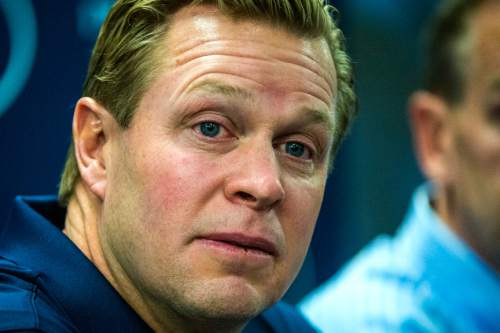 Chris Detrick  |  The Salt Lake Tribune Cougar football head coach Bronco Mendenhall listens during a press conference at Brigham Young University Friday December 4, 2015.  Mendenhall signed a five-year contract with the University of Virginia that will pay him $3.25 million annually, estimated to be more than three times the money he makes coaching BYU.