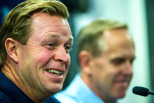Chris Detrick     The Salt Lake Tribune Cougar football head coach Bronco Mendenhall speaks during a press conference at Brigham Young University Friday December 4, 2015.  Mendenhall signed a five-year contract with the University of Virginia that will pay him $3.25 million annually, estimated to be more than three times the money he makes coaching BYU.