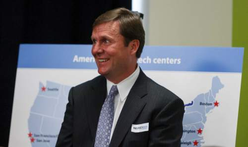 Trent Nelson  |  The Salt Lake Tribune Stan Lockhart smiles at a press conference where Governor Gary Herbert and Prosperity 2020 (business and education partners) announced a partnership to make Salt Lake a top ten location for technology jobs and businesses. The press conference was held at the World Trade Center in Salt Lake City, Utah, Thursday, September 6, 2012.