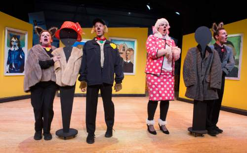"Rick Egan  |  The Salt Lake Tribune  Left to right, Jaten Lee McGriff , Alexis Baigue , Olivia Custodio and Jenessa Bowen in ""Art Dog,"" Salt Lake Acting Company's new annual play for kids.  Monday, November 23, 2015."
