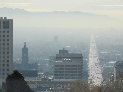 Trent Nelson  |  The Salt Lake Tribune The view of a hazy Salt Lake City, from the State Capitol Building, Tuesday December 8, 2015.