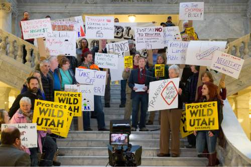 Rick Egan  |  The Salt Lake Tribune  Dan McCool addresses the crowd, as Lawmakers and environmental and public lands advocates rally against the public lands transfer in the capitol rotunda, Monday, March 2, 2015