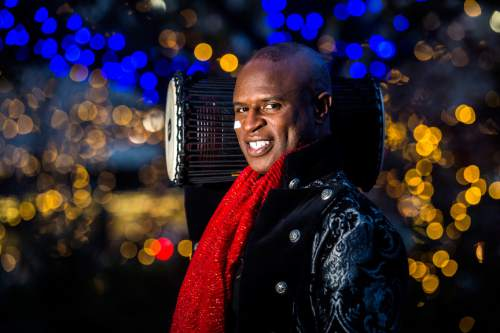Chris Detrick  |  The Salt Lake Tribune Singer Alex Boyé poses for a portrait at the Gallivan Center Tuesday, Dec. 8, 2015.
