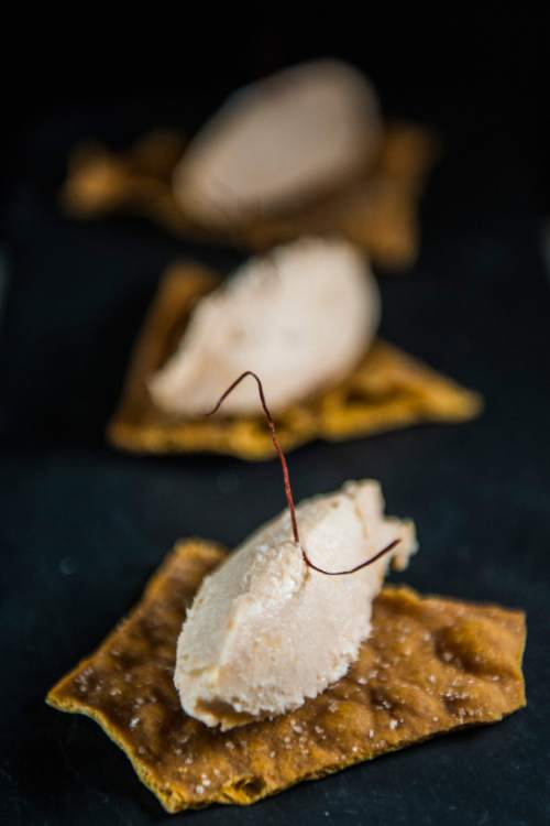 Chris Detrick  |  The Salt Lake Tribune Smoked trout mousse served on house-made lavosh ($2) at Finca on Nov. 18, 2015.