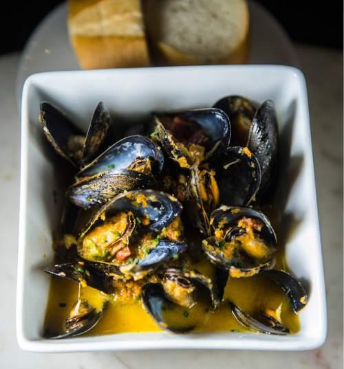 Chris Detrick  |  The Salt Lake Tribune Mejillones (mussels) with Spanish chorizo, sofrito and white wine ($15) at Finca on Nov. 18, 2015.