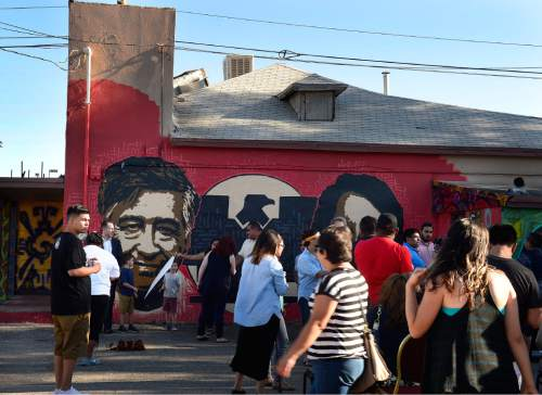 Scott Sommerdorf   |  The Salt Lake Tribune The scene outside the Azteca De Oro Taqueria restaurant, Thursday, July 23, 2015. About two hundred people came to support the mural of Cesar Chavez and Dolores Huerta on the north side of the building.