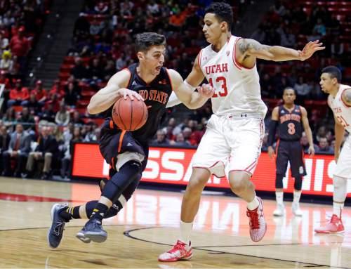 Idaho State guard Ben Wilson, left, drives around Utah forward Kyle Kuzma (13) in the first half during an NCAA college basketball game Friday, Nov. 27, 2015, in Salt Lake City. (AP Photo/Rick Bowmer)