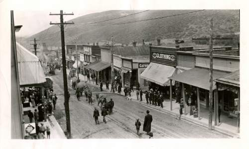 Tribune file photo  A circus parade makes its way down Main Street in Park City in this undated photo. Two elephants and two camels can be seen in the photo.
