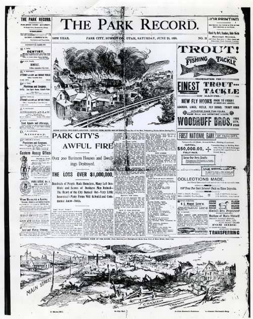 Tribune file photo  This scan of the front page of the Park Record reporting on a fire that destroyed more than 200 buildings in Park City in June of 1898.