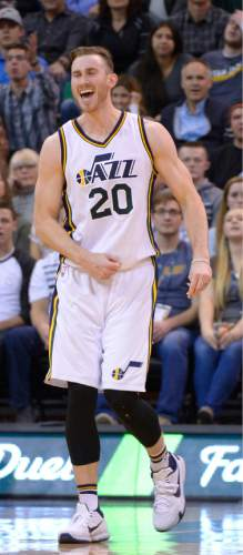Leah Hogsten  |  The Salt Lake Tribune Utah Jazz forward Gordon Hayward (20) is charged with an offensive foul. Oklahoma City Thunder defeated the Utah Jazz 94-90 at Vivint Smart Home Arena, Friday, December 11, 2015.