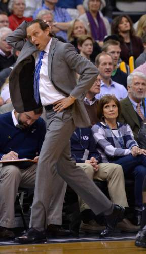 Leah Hogsten  |  The Salt Lake Tribune Utah Jazz head coach Quin Snyder reacts to the 4th period comeback. Oklahoma City Thunder defeated the Utah Jazz 94-90 at Vivint Smart Home Arena, Friday, December 11, 2015.