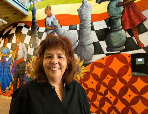 Rick Egan  |  The Salt Lake Tribune  University of Utah Special Topics Art Class  Professor V. Kim Martinez unveiled the1500 square foot mural at Esperanza Elementary School in West Valley City, Friday, December 11, 2015.
