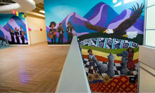Rick Egan  |  The Salt Lake Tribune  The University of Utah Special Topics Art Class and Professor V. Kim Martinez unveiled the1500 square foot mural at Esperanza Elementary School in West Valley City, Friday, December 11, 2015.