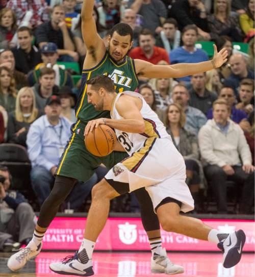 Rick Egan  |  The Salt Lake Tribune  Utah Jazz forward Trey Lyles (41) stops New Orleans Pelicans forward Ryan Anderson (33), as the Utah Jazz defeated the New Orleans Pelicans 101-87, in NBA action In Salt Lake City, Saturday, November 24, 2015.